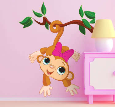 아기 소녀 원숭이 아이 스티커