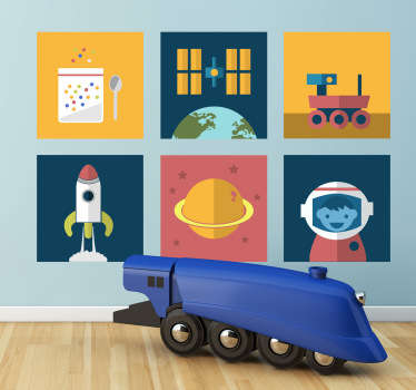 Kids Space Tiles Decals