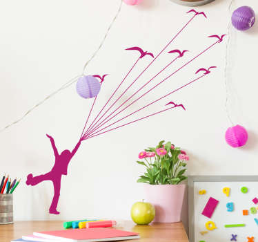 Kids Wall Stickers - Inspired by the book The Little Prince a young character being lifted away by birds. Silhouette design ideal for children.