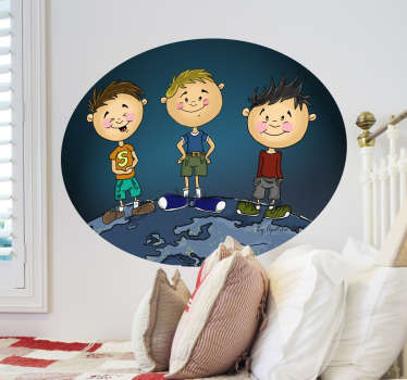 A oval wall sticker illustrating three young kids posing for a picture. Superb kids decal to give their space a new look and a fresh atmosphere.