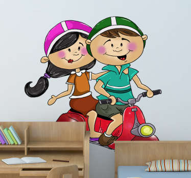 A great motorbike decal illustrating a young couple on their way to the park. Original wall sticker to decorate your home.