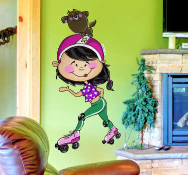 Skater Girl and Dog Wall Sticker