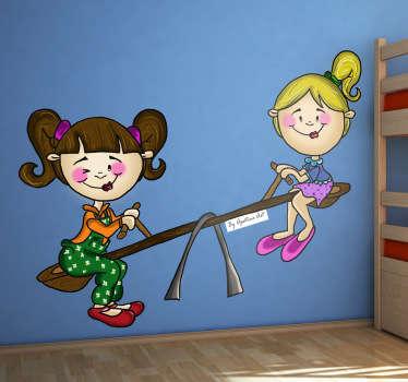 vinilo infantil amigas balancin