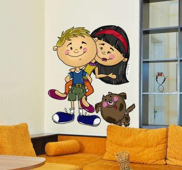 아이 벽 스티커-두 친구와 그들의 귀여운 사랑스러운 강아지의 원래 그림. 아이들을위한 영역을 장식하는 장난 기능.