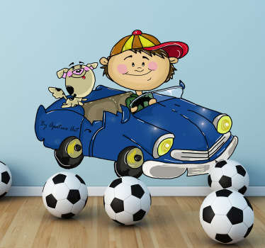 Kids Wall Stickers - Original illustration of a young boy driving accompanied by his pet dog.