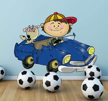 Naklejka na ścianę chłopiec w samochodzie