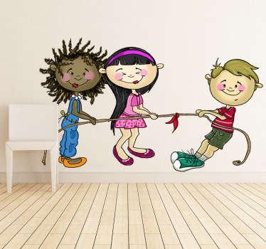Sticker kinderkamer touwtrekken kinderen