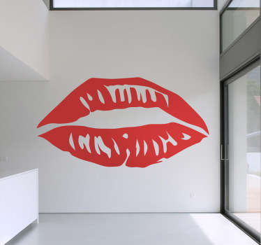 キスマークの装飾ステッカー。あなたの家にスタイルの感覚を追加する、輝く赤い唇の完璧な壁ステッカー。