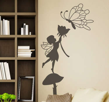 Kids Wall Stickers - Silhouette illustration of a small fairy holding a flower up to a butterfly. Elegant feature suitable for all ages.