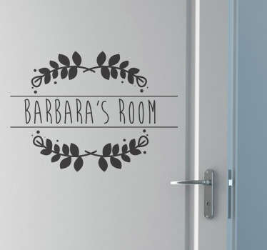 Autocolante decorativo nome personalizado porta