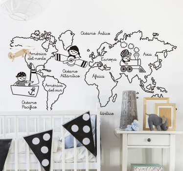 Enséñale a tus hijos con este adhesivo los nombres de todos los continentes y océanos del planeta.