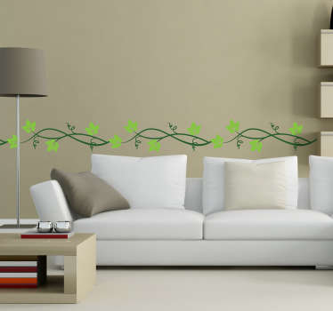An elegant horizontal ivy vine floral pattern from our creative collection of plant wall stickers to give your living a fantastic appearance and atmosphere. Easy to apply and remove. Available in various sizes.