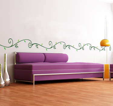 Borders - Elegant and simple horizontal vine floral pattern. 4 piece set. Vinyl decals ideal for revamping your walls.
