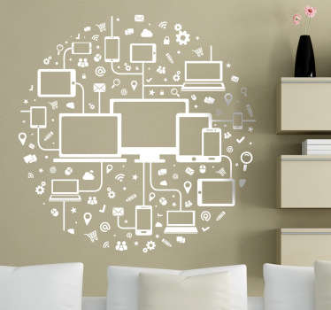 Technology wall sticker in the shape of a circle with tablets, notebooks and PCs, accompanied also by popular icons of the computer world. This modern wall sticker is perfect for adding a professional look to any office or boardroom.