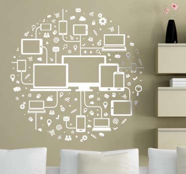 Sticker cercle icônes médias