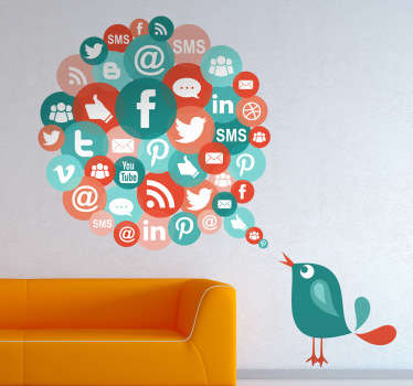 Multicoloured business wall sticker for an office showing a bird tweeting about all the possible icons to do with the Internet and social media. Includes the logos of Facebook, Twitter, Tumblr, Pinterest, YouTube and more!