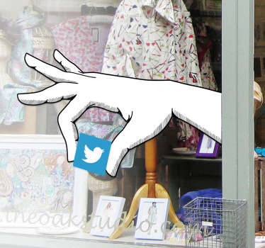 This vinyl decal shows a hand holding the Twitter logo. This allows you to decorate your shop in an original way and show that you're using Twitter.