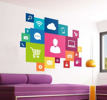 Vinilo decorativo con una nube de iconos informáticos inspirados en la nueva estética de Windows. Ideal para decorar tu negocio, des de la pared al escaparate.
