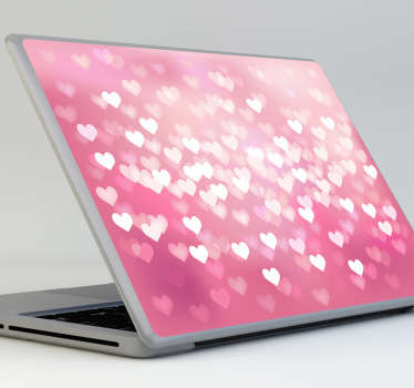 Sticker PC portable coeurs amour