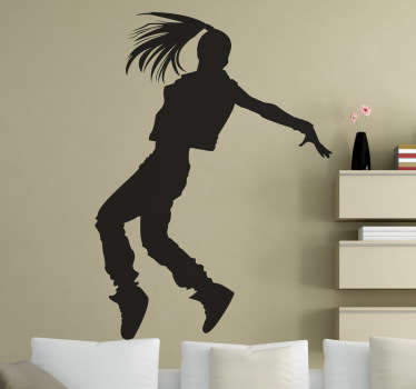 Silhouette wall sticker of a female dancer with long hair street dancing, from our collection of dance wall stickers. This exciting and versatile decal is perfect for adding a touch of personality and excitement to any young dancer's bedroom or studio!