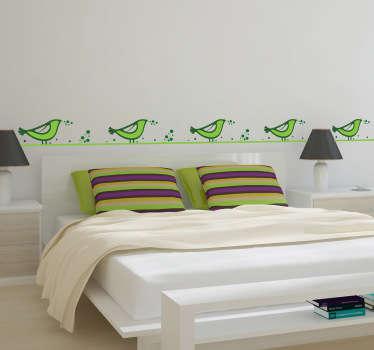 Sticker decorativo cornice uccelli verdi
