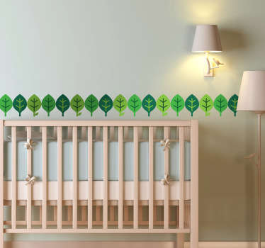 Green Leaves Wall Borders Teal Sticker
