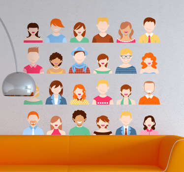 A wall decal showing icons of lots of different people in four rows.