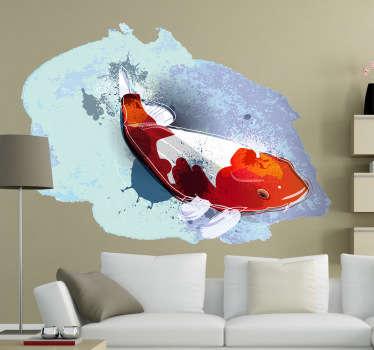Vinilo decorativo acuarela pez koi