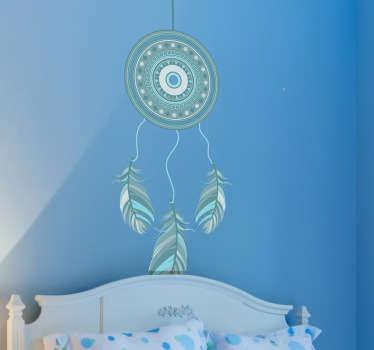 Dromenvanger blauw veren sticker