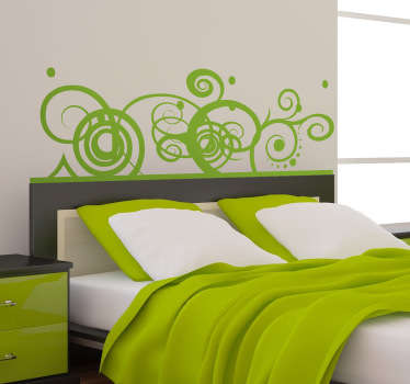 A beautiful sticker with an abstract pattern of swirls and lines that is ideal for placing above your bed.