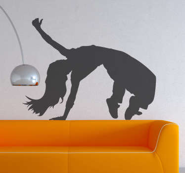 Silhouette wall sticker of a hip hop dancer with long hair doing an impressive acrobatic dance move, from our collection of dance wall stickers. This awesome hip hop wall sticker is perfect for decorating any teen room or dance studio to create the ideal atmosphere for dancing.