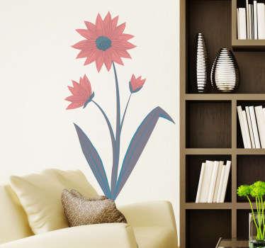Naklejka na ścianę czerwony kwiat