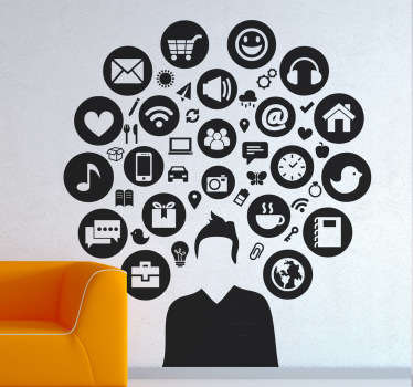 Social Media - Silhouette design of a young male adult surrounded by various icons. Distinctive feature great for the home or business.