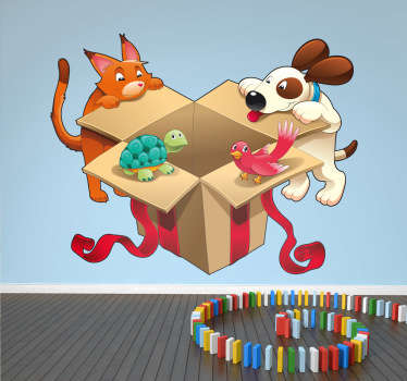 Animals - Fun and playful illustration of a cat, dog, turtle and bird opening a gift box. It is easy to apply. Available in various sizes.