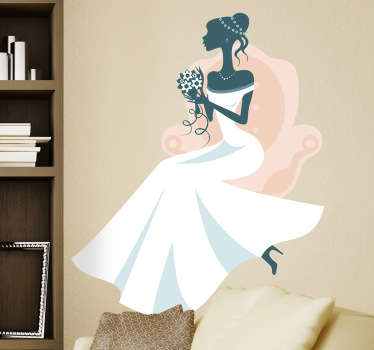Elegant sticker with an image of a beautiful bride posing with a bouquet of flowers in her hands.