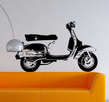 Monochromatic sticker of this iconic motorcycle created by artist Pierino Gallucci.