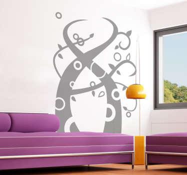 Wandtattoo abstraktes Pflanzen Ornament