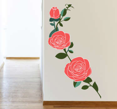 Pink Roses Branch Wall Decal