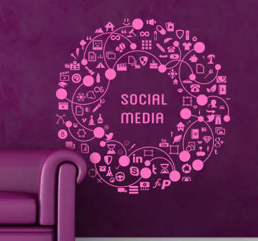 Social Media ronde kroon sticker