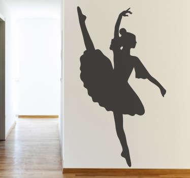 Silhuett ballerina vägg klistermärke