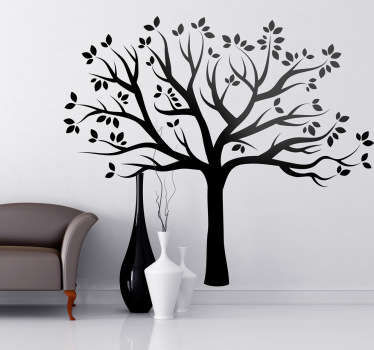 シルエットの秋の木の壁のステッカー