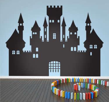 Middelalderlig silhuett slott veggen klistremerke
