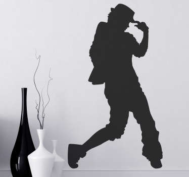Silhouette sticker of a dancer that could be recreating the famous Michael Jackson dance moves. This sticker is available in 45 different colours.