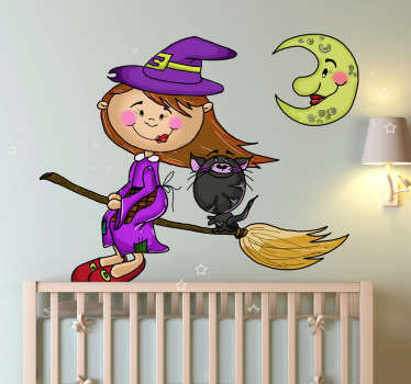 Personalise the kids rooms with this fantastic wall sticker of a little witch on a broom with her cat shows flying under the moon at night.