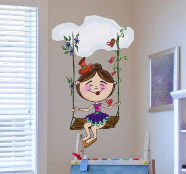 A fantastic decal by Apatino Art illustrating a young girl having fun swinging under a cloud. Design from our collection of cloud wall stickers.