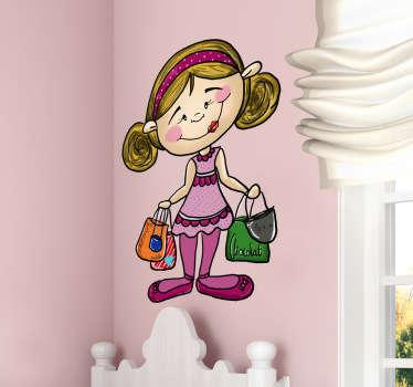 Wandtattoo Mädchen mit Taschen