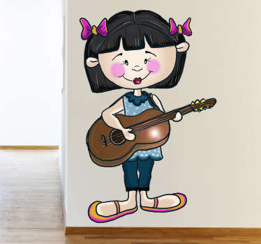 Sticker petite fille guitariste