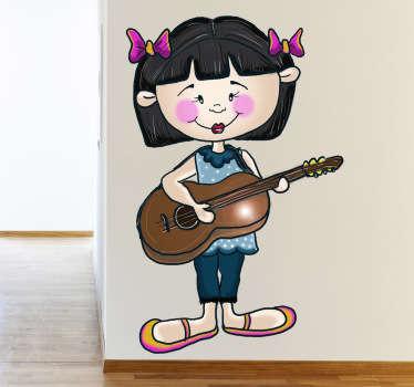Meisje met gitaar sticker