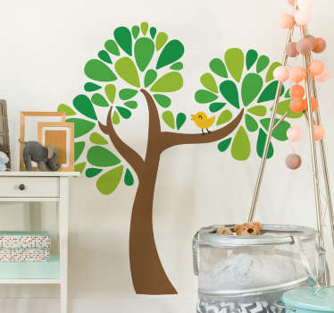 Kids Wall Stickers - Colourful illustration of a tree with leaves accompanied by a cute little yellow bird. Available in various sizes.