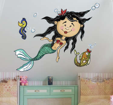 A design illustrating a young mermaid under the sea! Brilliant mermaid decal from our collection of mermaid wall stickers for children.